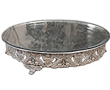 18 Inch Round Nickleplate Cake Stand with glass plate