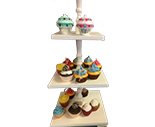 3-tier wood cupcake stand