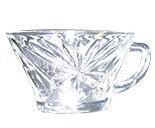 Punch Bowl Cups Daisy Pattern and Clear Glass