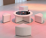 Modern White Vinyl Round Coffee Table w/Tempered Glass and Four Mini Stools!