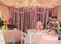 Light pink ribbons with boa feathers backdrop