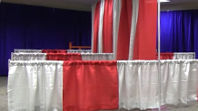 Back To Back Pipe and Drape Booth Set Up