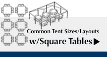Common Tents Sizes and Layouts with Square Tables